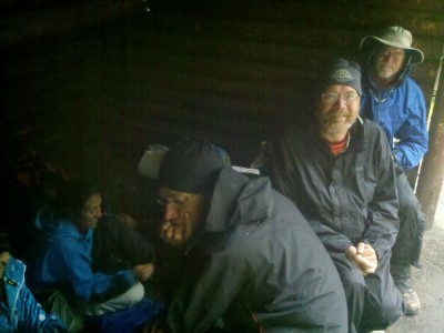 Holed up in a shelter until the rain let up