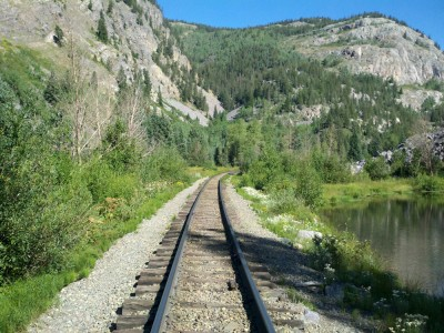 Down the gorge and across the Durango-Silverton train tracks
