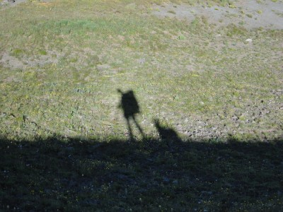 Shadow of a hiker and her dog