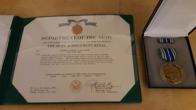 Army certificate, medal, ribbon, and pin